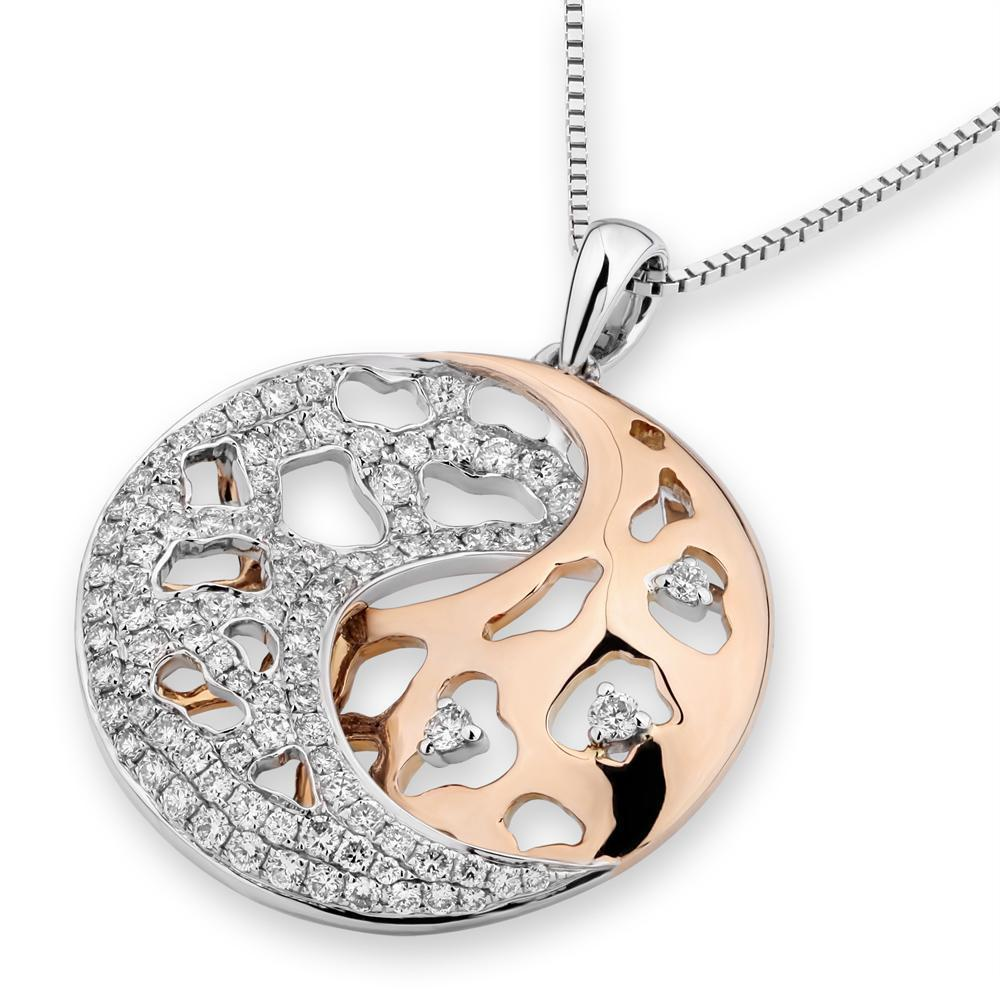 Lunar Pendant in 18k White & Rose Gold with Diamonds (0.666ct) Pendant IAD