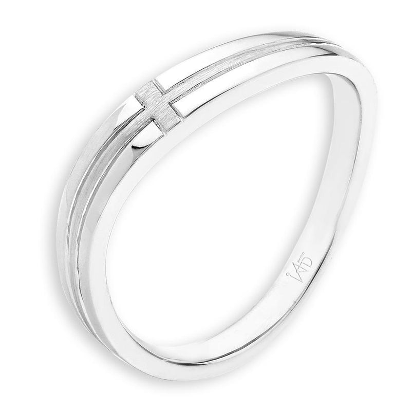 Men's Cross Ring in 18k White Gold with Diamonds (0.009ct) Men's Wedding Band IAD