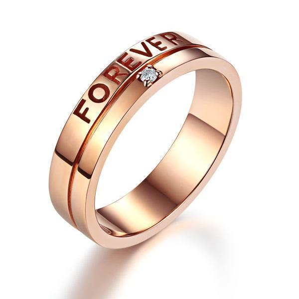 Men's Forever Ring in 14k Rose Gold with Diamond ( 0.02ct) His Wedding Band Oanthan 14k White Gold US Size 9