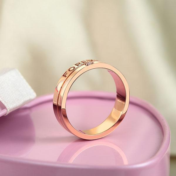 Men's Forever Ring in 14k Rose Gold with Diamond ( 0.02ct) His Wedding Band Oanthan