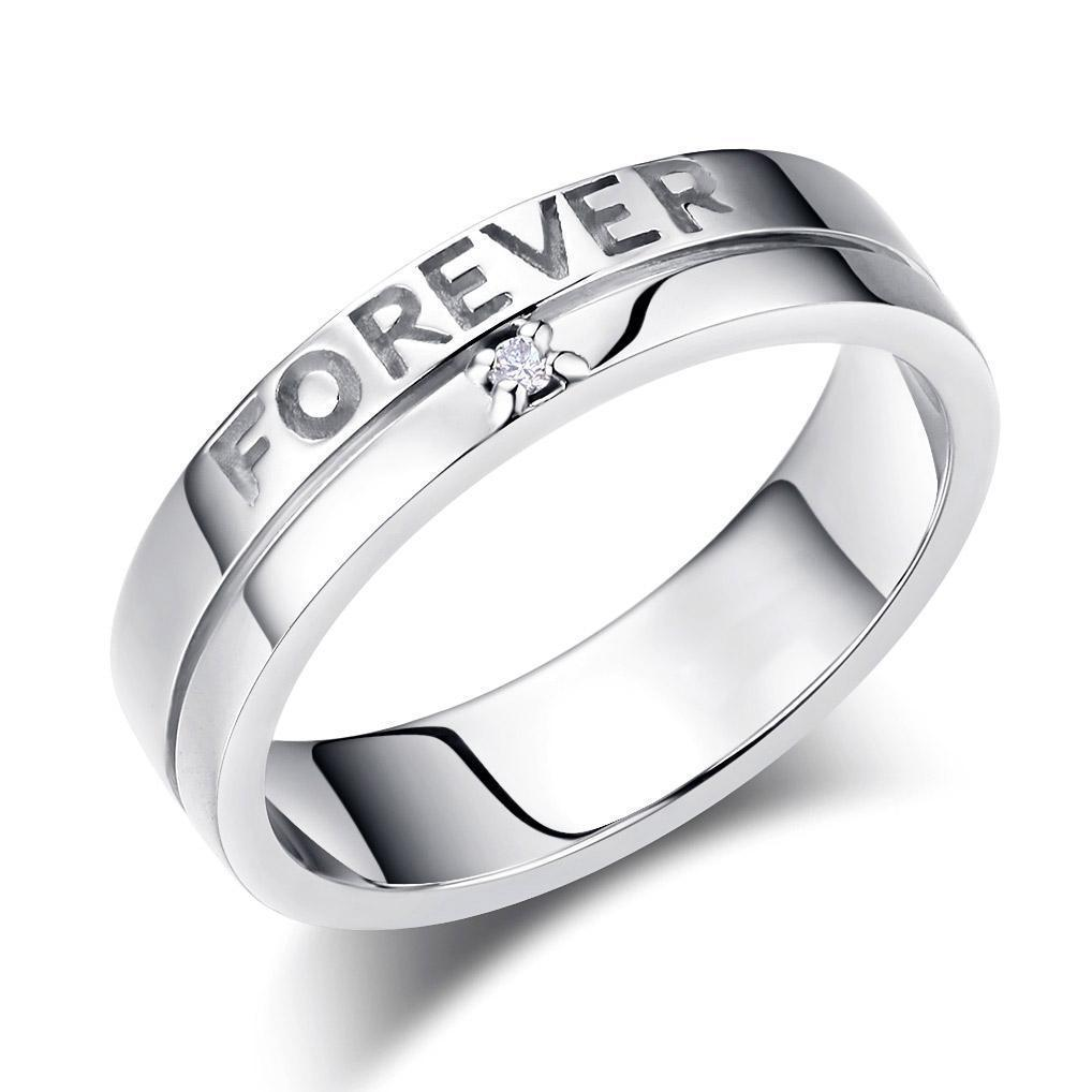 Men's Forever Ring in 14k White Gold with Diamond (0.02ct) His Wedding Band Oanthan 14k White Gold US Size 9