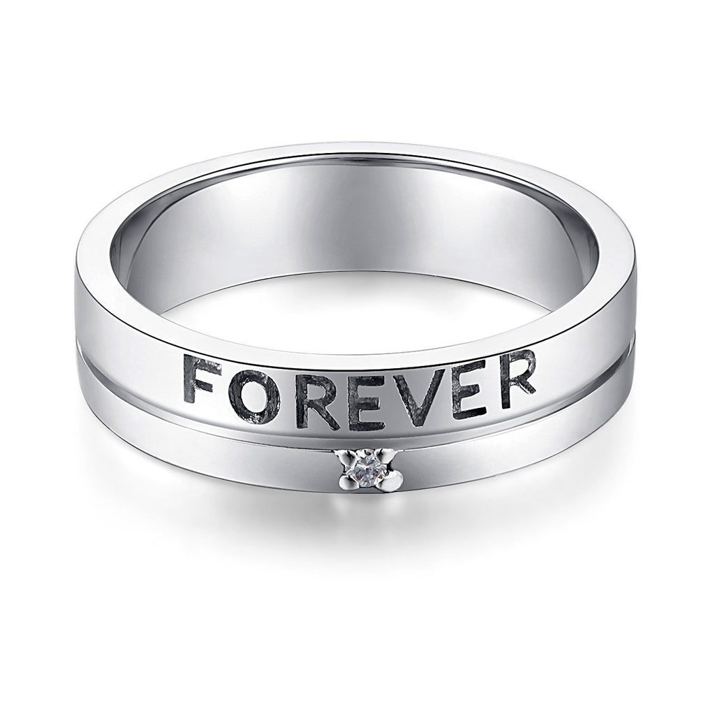 Men's Forever Ring in 14k White Gold with Diamond (0.02ct) His Wedding Band Oanthan