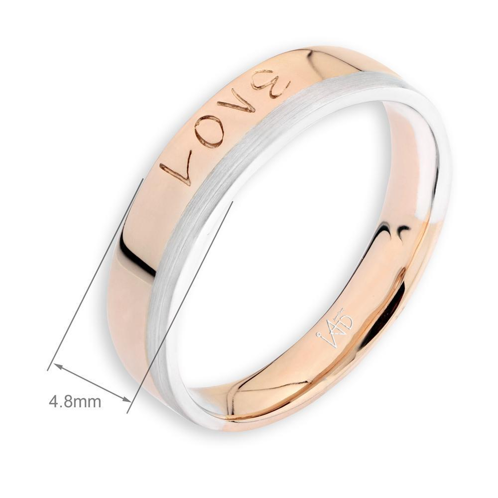 Men's Love Ring in 18k White & Rose Gold with Diamonds (0.011ct) Men's Ring IAD