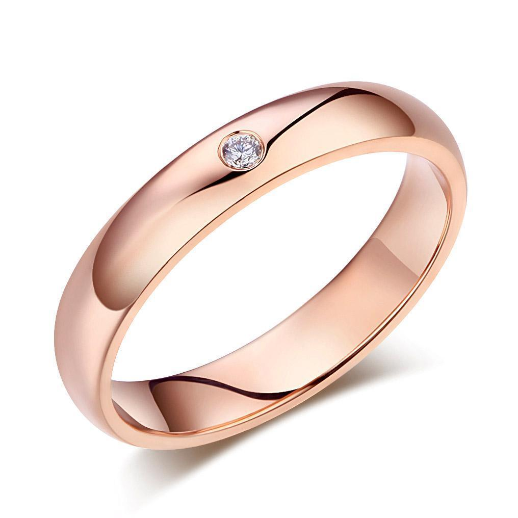 Men's Ring in 14k Rose Gold with Diamond (0.03ct) His Wedding Band Oanthan 14k White Gold US Size 9