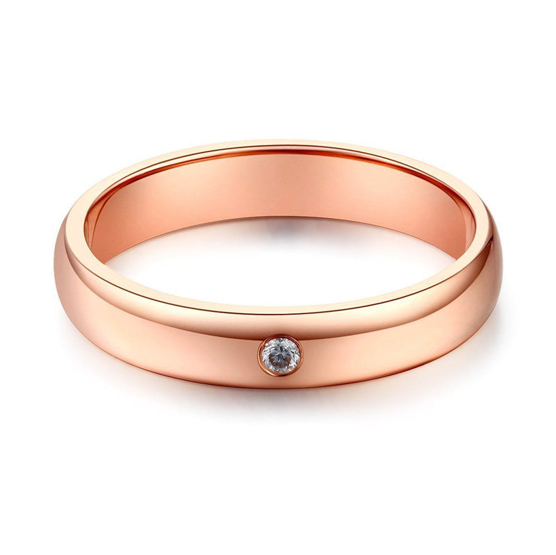 Men's Ring in 14k Rose Gold with Diamond (0.03ct) His Wedding Band Oanthan