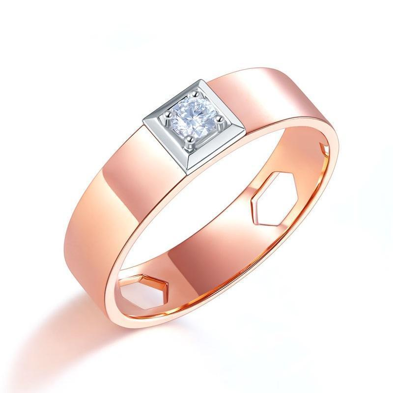 Men's Ring in 14k Rose Gold with Diamond (0.145ct) His Wedding Band Oanthan 14k White Gold US Size 9