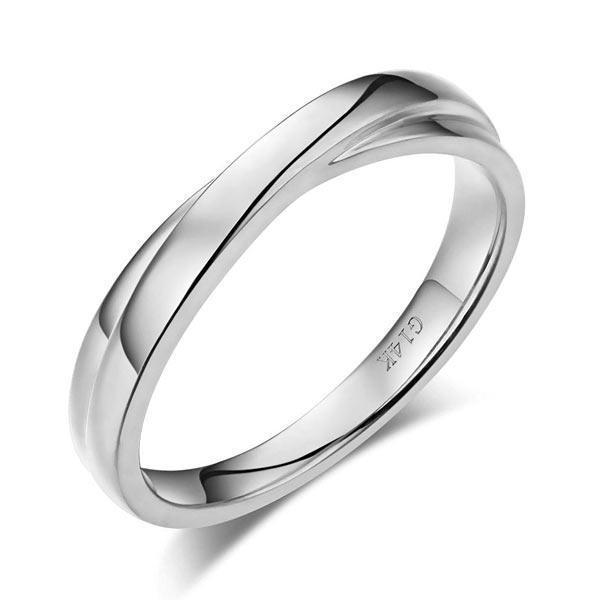 Men's Ring in 14k White Gold His Wedding Band Oanthan 14k White Gold US Size 9