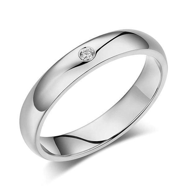 Men's Ring in 14k White Gold with Diamond (0.03ct) His Wedding Band Oanthan 14k White Gold US Size 9