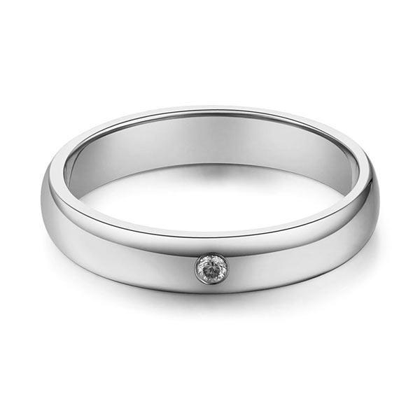 Men's Ring in 14k White Gold with Diamond (0.03ct) His Wedding Band Oanthan