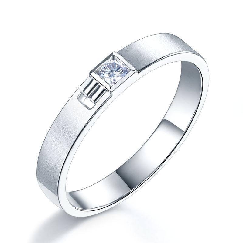 Men's Ring in 14k White Gold with Diamond (0.1ct) His Wedding Band Oanthan 14k White Gold US Size 9