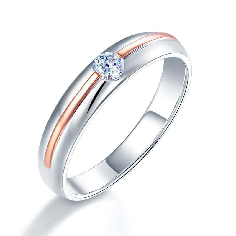 Men's Ring in 14k White & Rose Gold with Diamond (0.165ct) His Wedding Band Oanthan White with Rose Gold US Size 9
