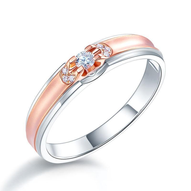 Men's Ring in 14k White & Rose Gold with Diamonds (0.1ct) His Wedding Band Oanthan 14k White Gold US Size 9