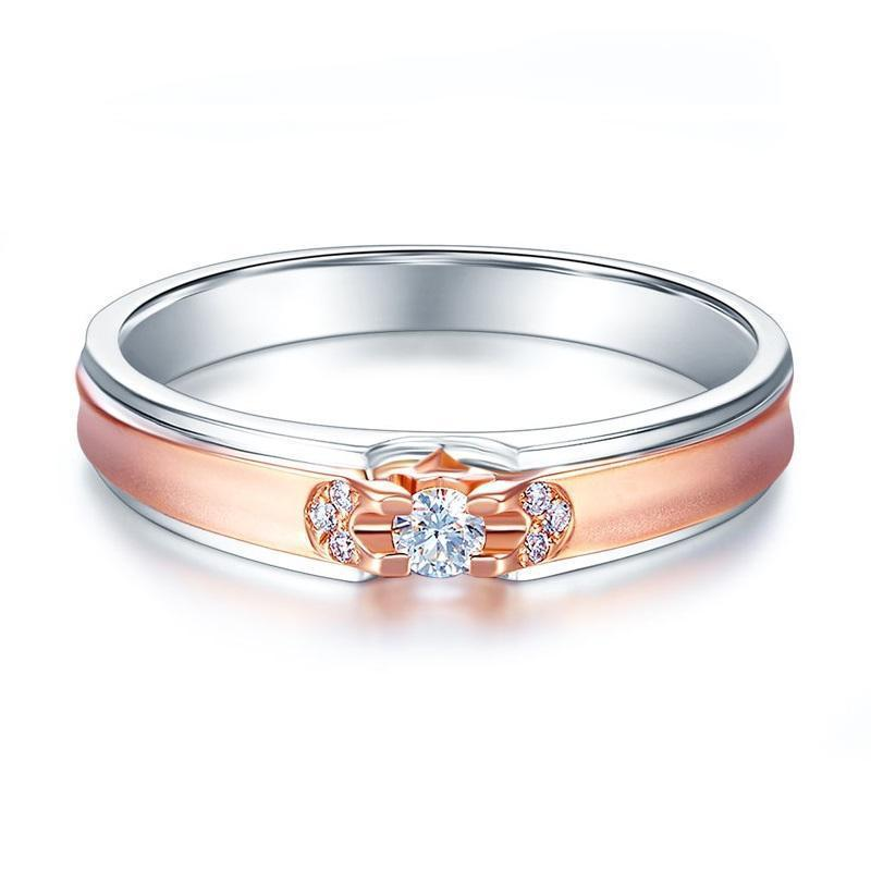 Men's Ring in 14k White & Rose Gold with Diamonds (0.1ct) His Wedding Band Oanthan
