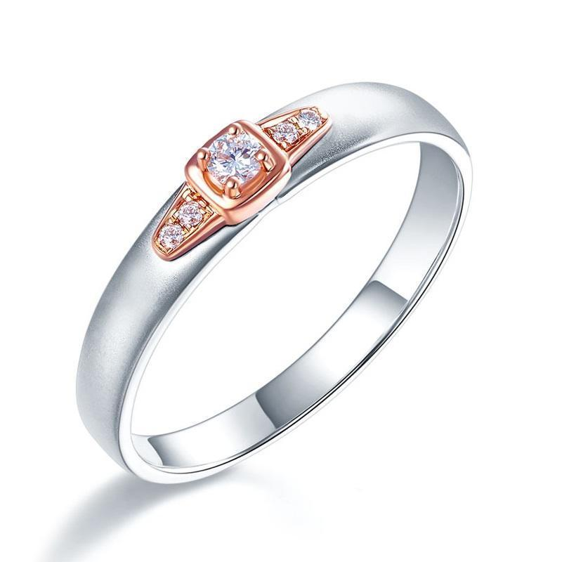 Men's Ring in 14k White & Rose Gold with Diamonds (0.1ct) His Wedding Band Oanthan White with Rose Gold US Size 9