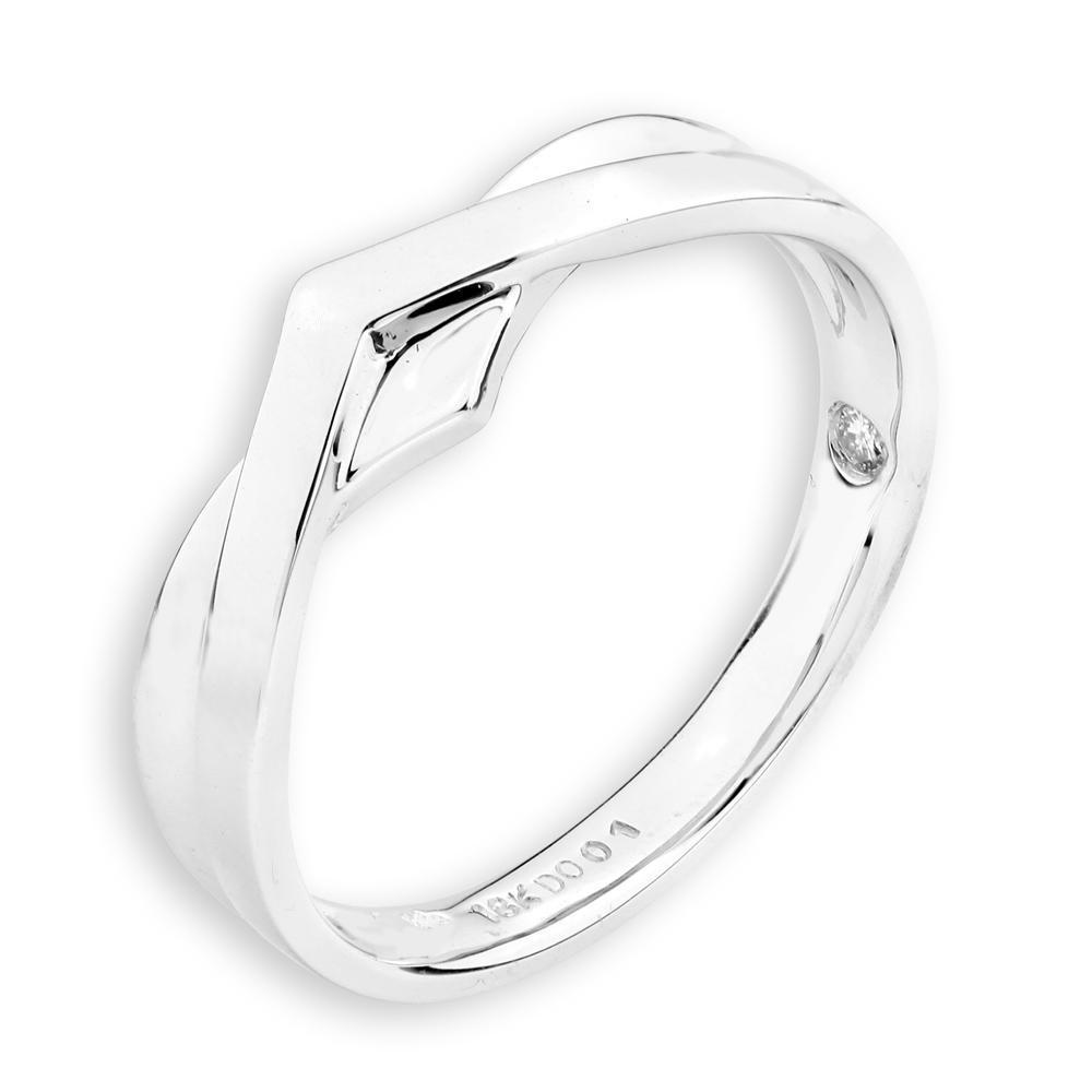 Men's Ring in 18k White Gold with Diamonds (0.018ct) Men's Ring IAD