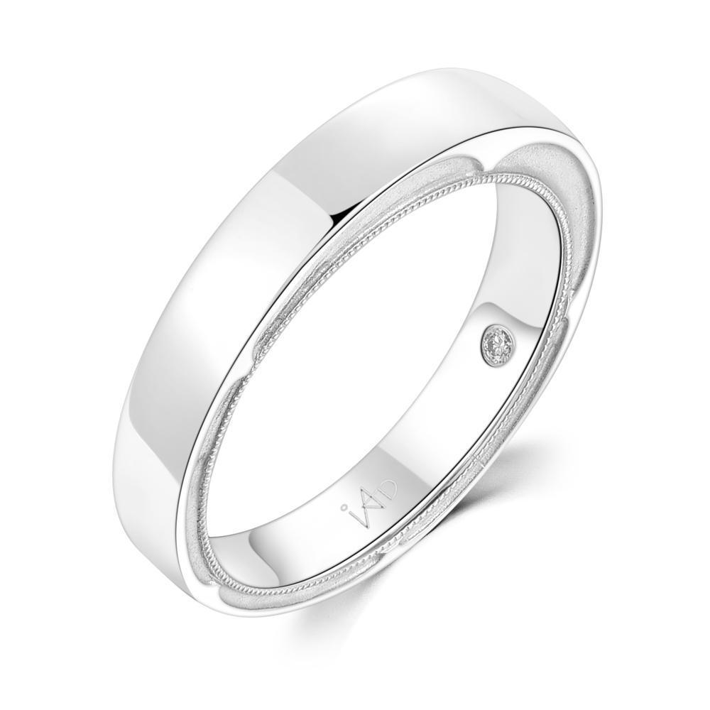 Men's Ring in 18k White Gold with Diamonds (0.01ct) Men's Ring IAD