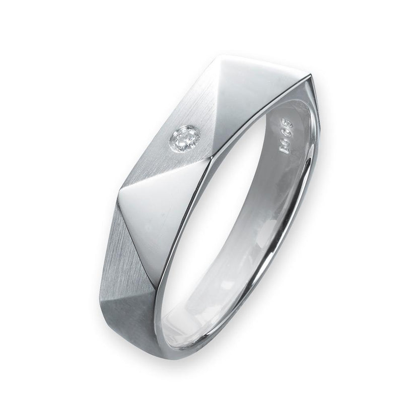 Men's Ring in 18k White Gold with Diamonds (0.025ct) Men's Ring Olivia Davenport Fine Jewels