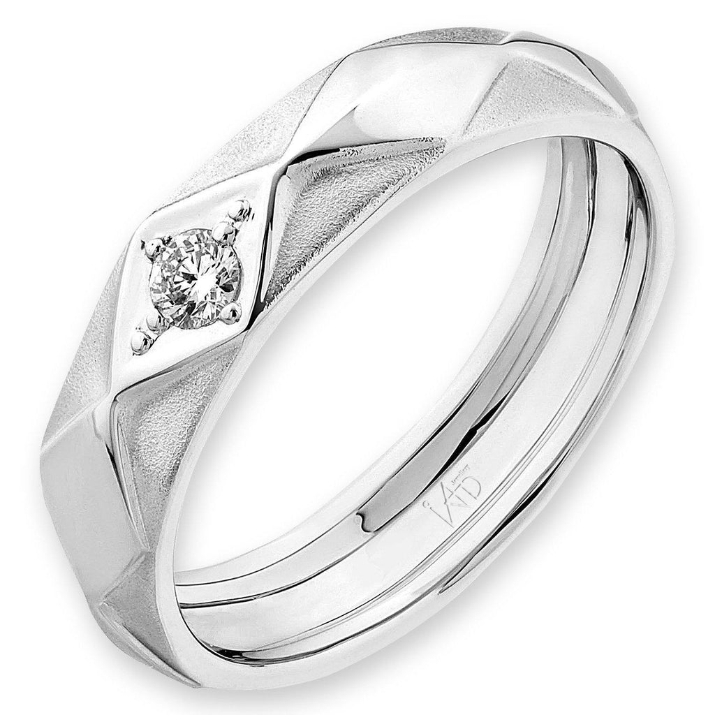 Men's Ring in 18k White Gold with Diamonds (0.082ct) Men's Ring Olivia Davenport Fine Jewels