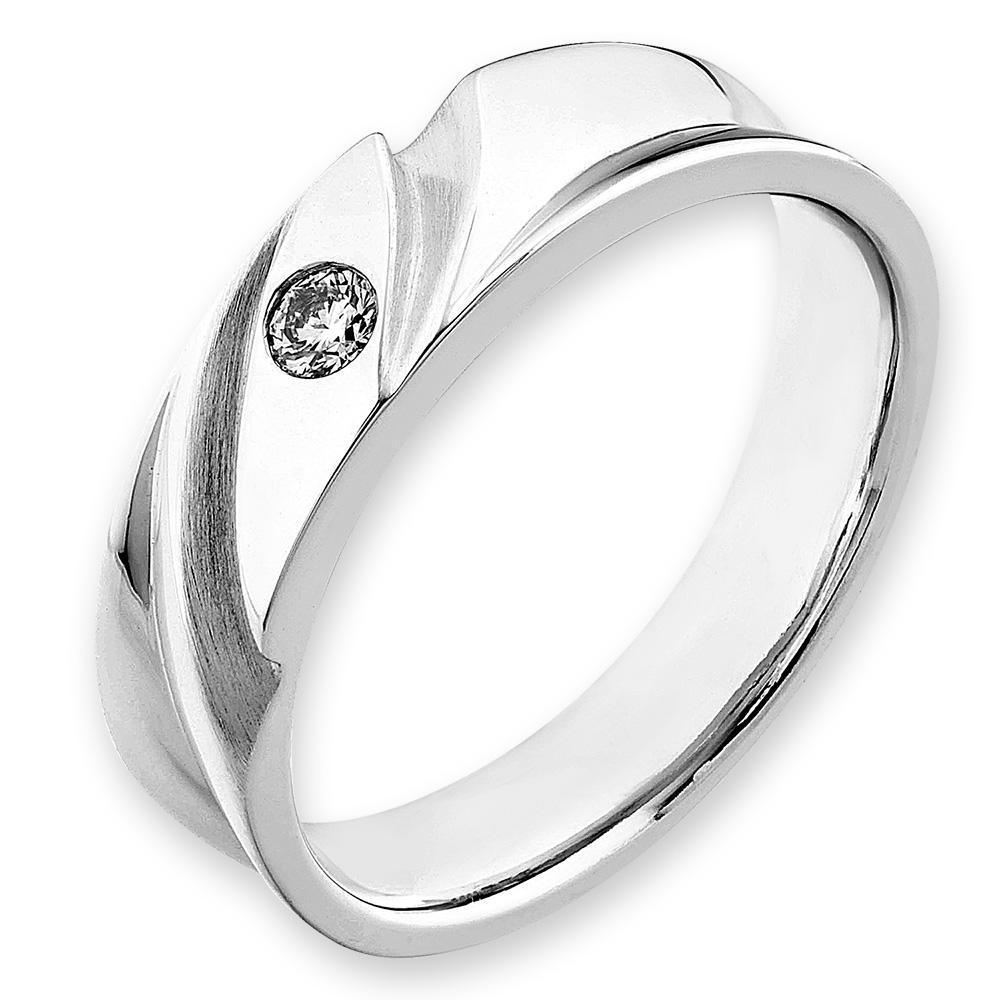 Men's Ring in 18k White Gold with Diamonds (0.09ct) Men's Ring Olivia Davenport Fine Jewels