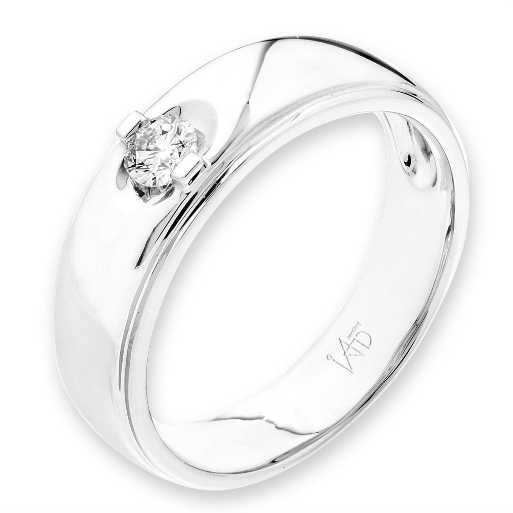 Men's Ring in 18k White Gold with Diamonds (0.157ct) Men's Ring Olivia Davenport Fine Jewels