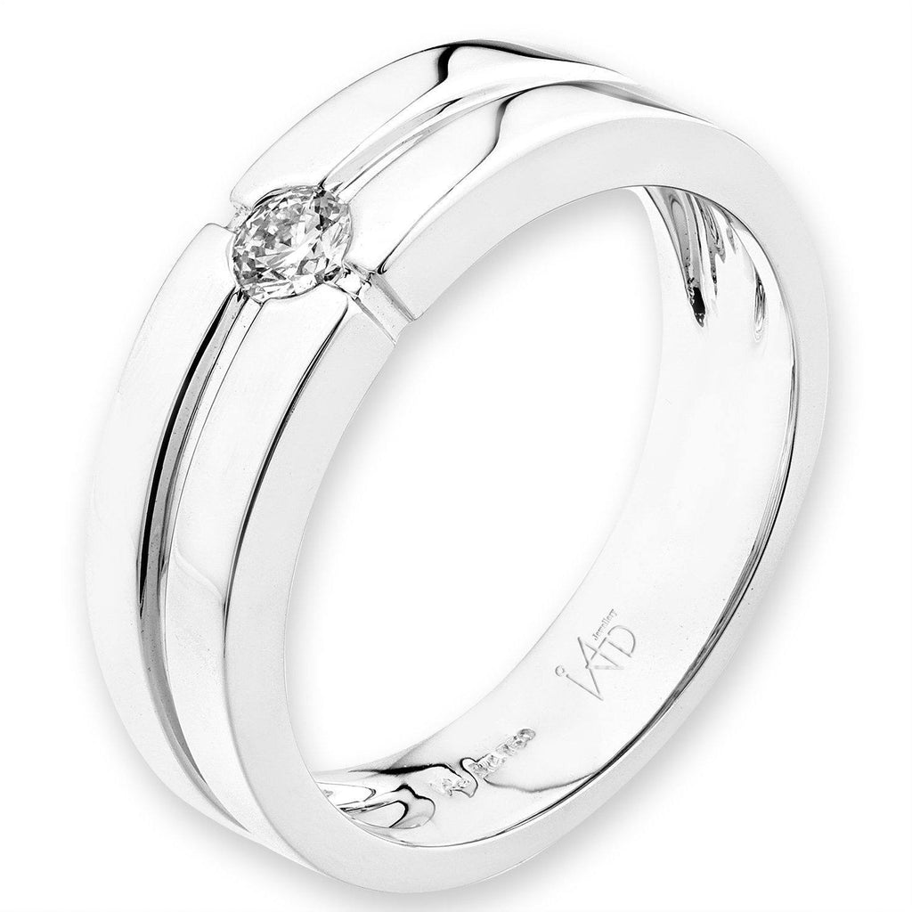 Men's Ring in 18k White Gold with Diamonds (0.158ct) Men's Ring Olivia Davenport Fine Jewels