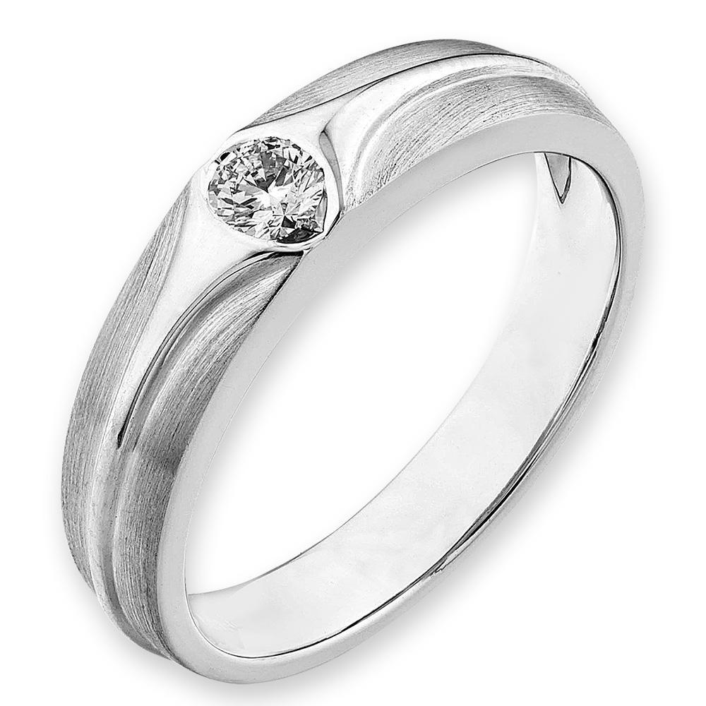 Men's Ring in 18k White Gold with Diamonds (0.159ct) Men's Ring Olivia Davenport Fine Jewels