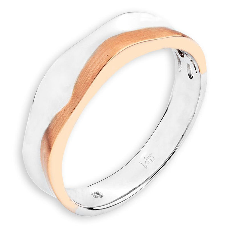 Men's Ring in 18k White & Rose Gold with Diamonds (0.005ct) Men's Ring Olivia Davenport Fine Jewels