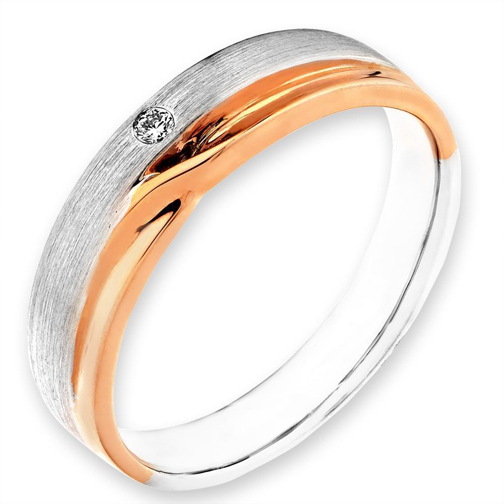 Men's Ring in 18k White & Rose Gold with Diamonds (0.023ct) Men's Ring IAD