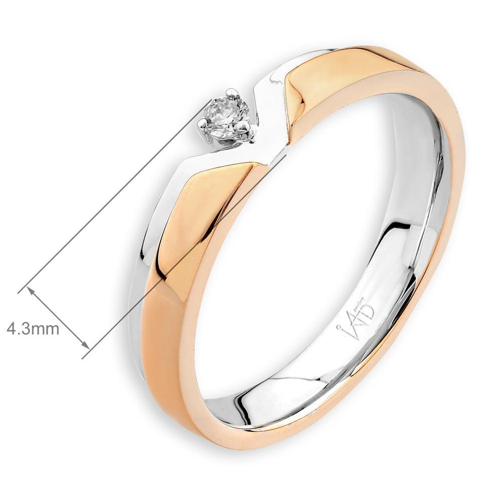 Men's Ring in 18k White & Rose Gold with Diamonds (0.051ct) Men's Ring IAD