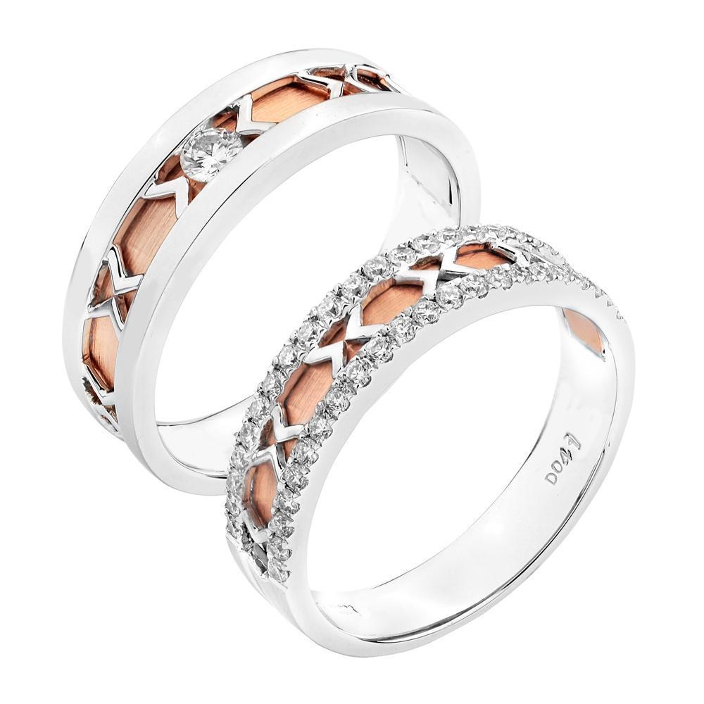 Men's Ring in 18k White & Rose Gold with Diamonds (0.065ct) Men's Ring Olivia Davenport Fine Jewels