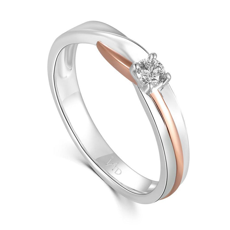 Men's Ring in 18k White & Rose Gold with Diamonds (0.14ct) Men's Ring IAD
