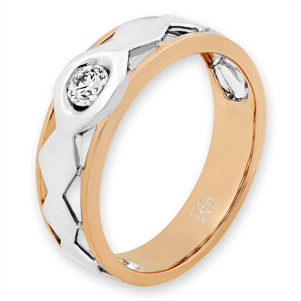 Men's Ring in 18k White & Rose Gold with Diamonds (0.171ct) Men's Ring Olivia Davenport Fine Jewels