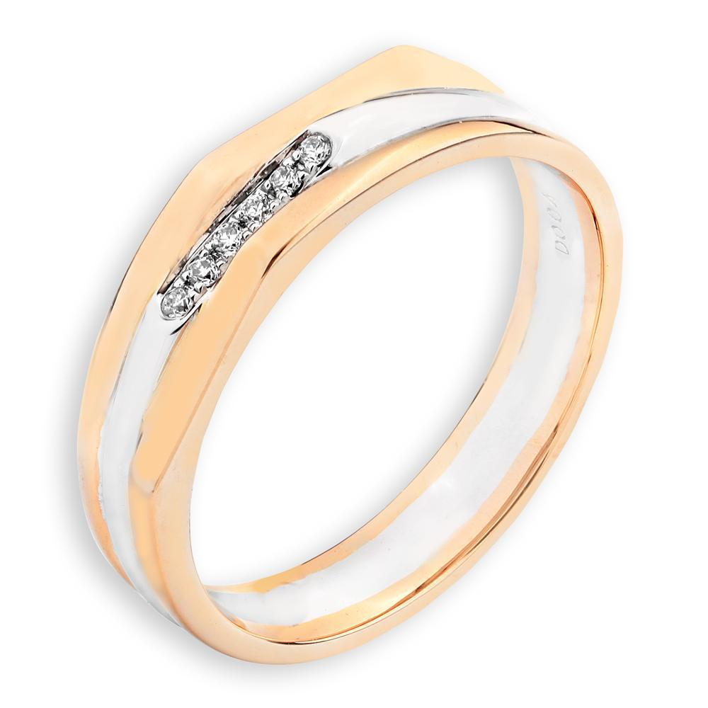 Men's Ring in 18k White & Yellow Gold with Diamonds (0.04ct) Men's Ring Olivia Davenport Fine Jewels