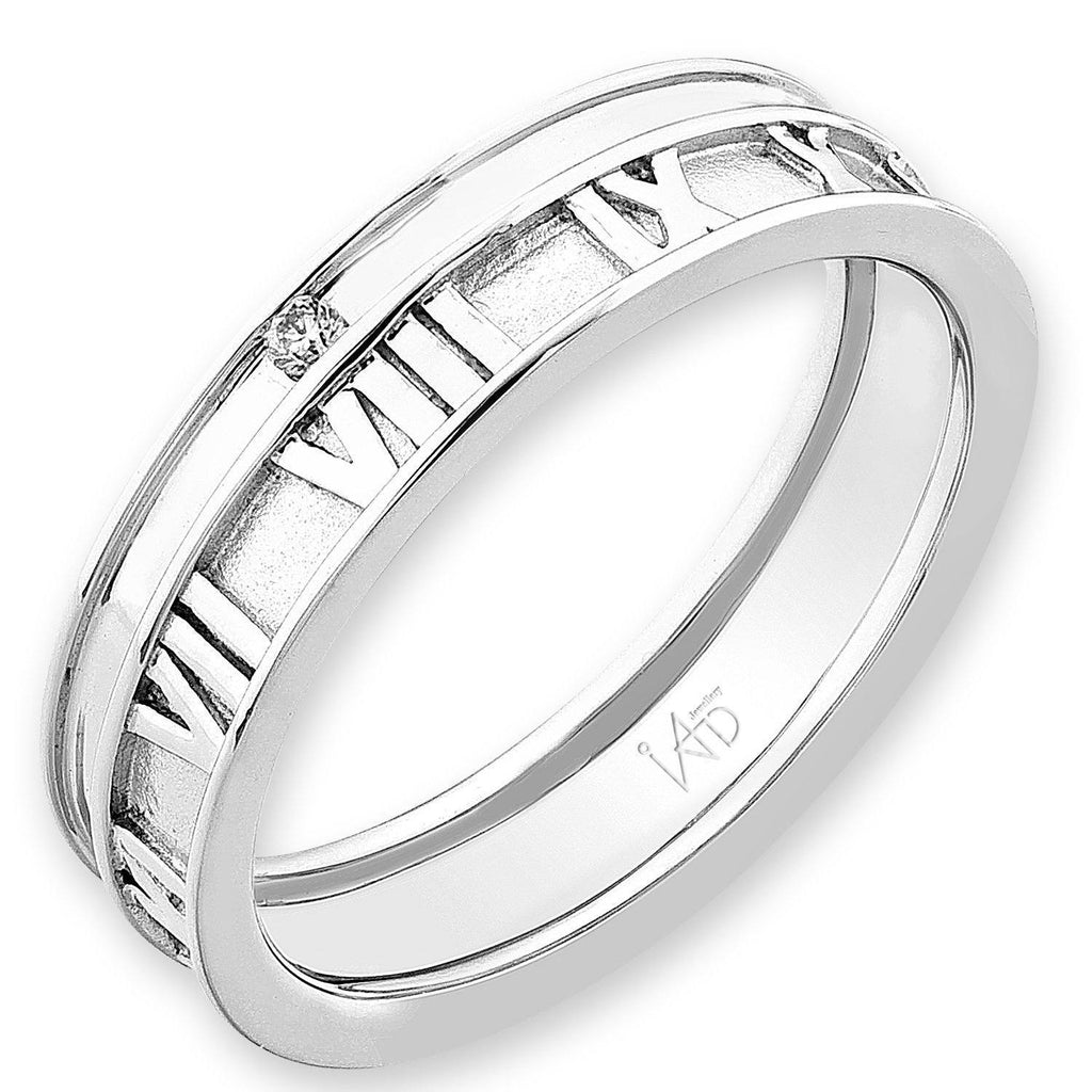 Men's Roman Ring in 18k White Gold with Diamonds (0.018ct) Men's Ring Olivia Davenport Fine Jewels