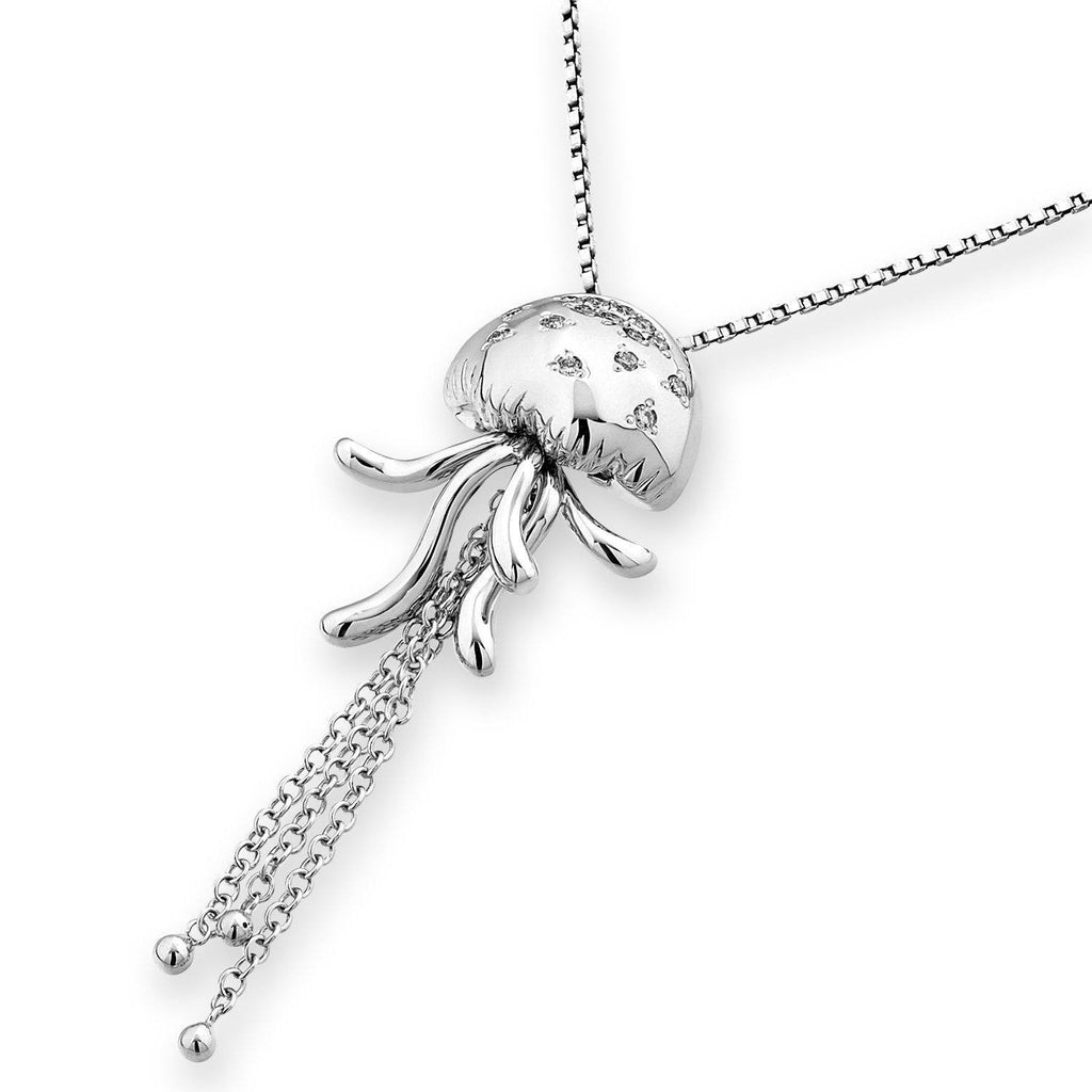 Octopus Pendant in 18k White Gold with Diamonds (0.079ct) Pendant IAD