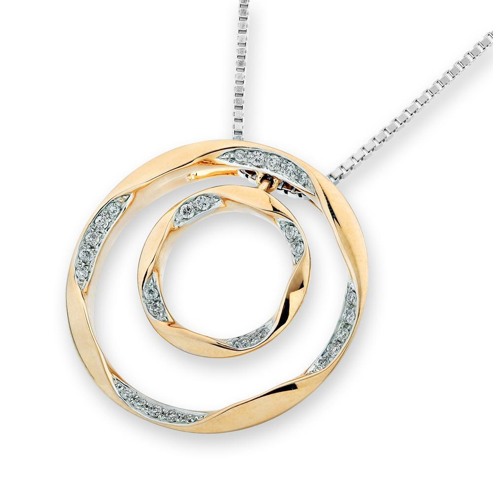 Orbit Pendant in 18k Yellow and White Gold with Diamonds (0.103ct) Pendant IAD