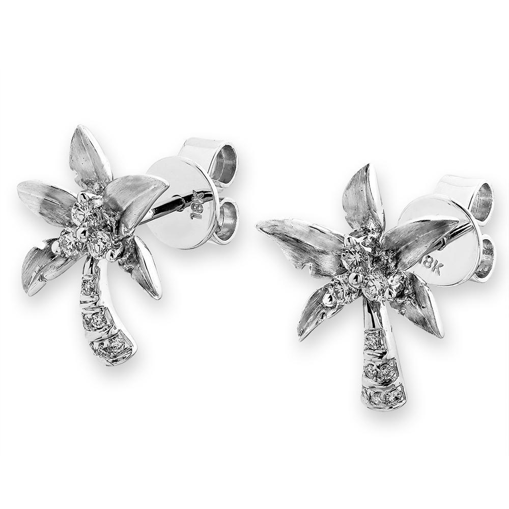 Palm Tree Earrings in 18k White Gold with Diamonds (0.135ct) Earrings IAD