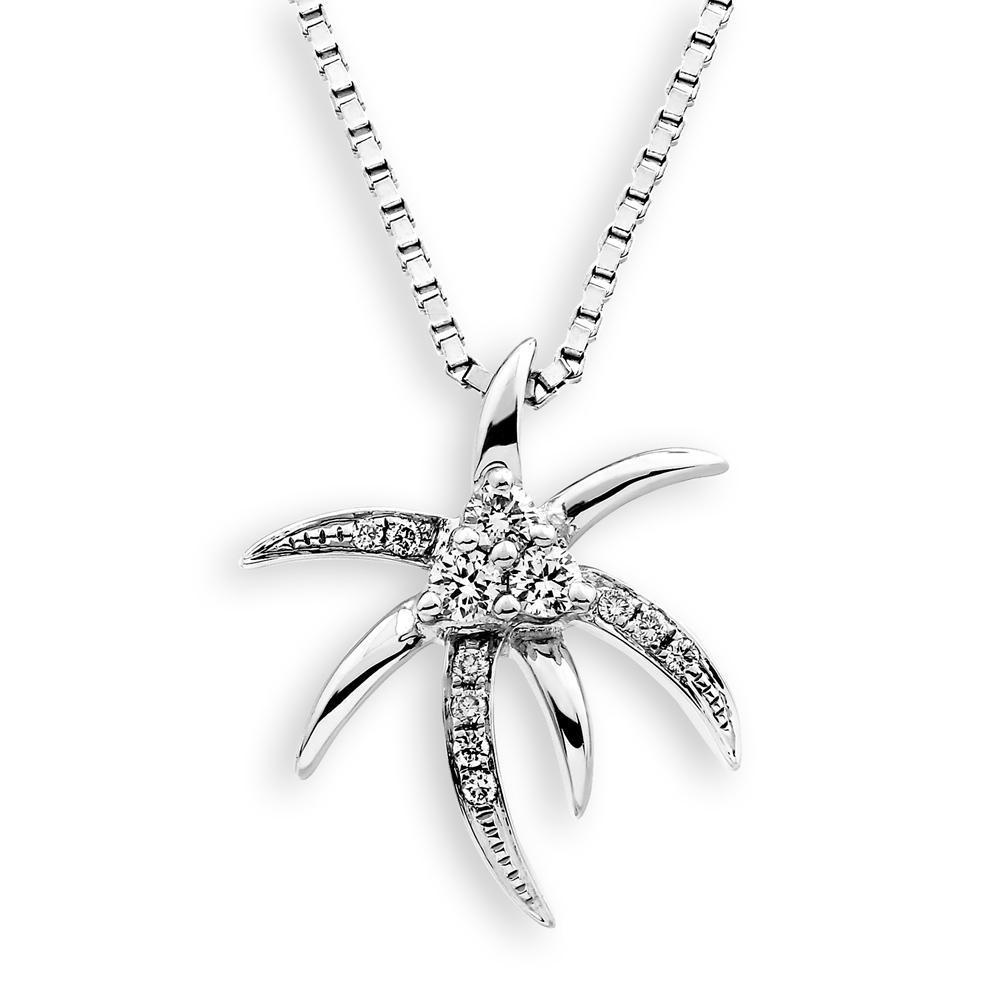 Palm Tree Pendant in 18k White Gold with Diamonds (0.102ct) Pendant IAD