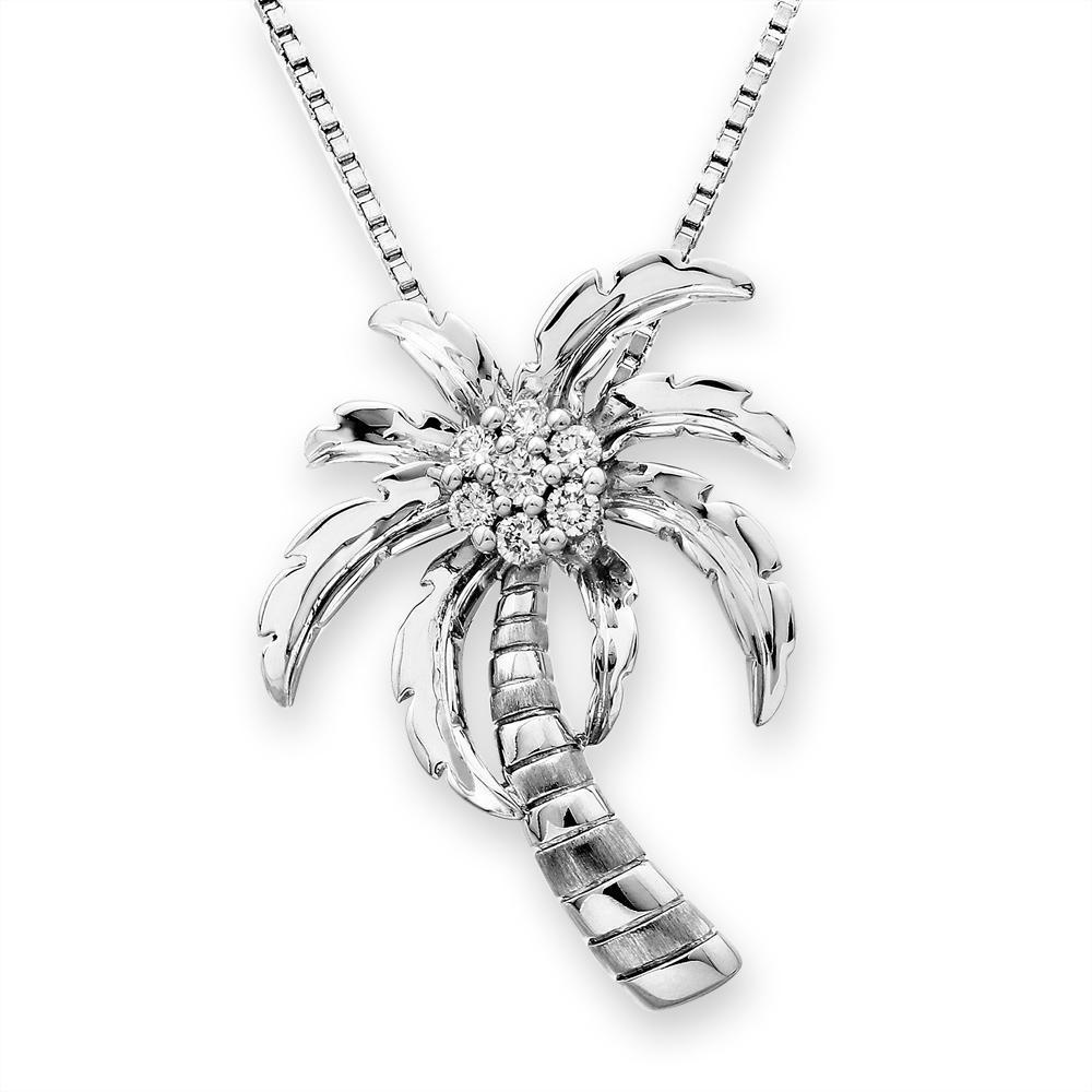 Palm Tree Pendant in 18k White Gold with Diamonds (0.132ct) Pendant IAD