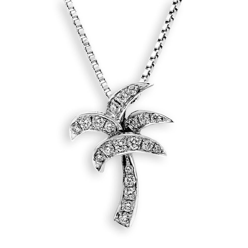 Palm Tree Pendant in 18k White Gold with Diamonds (0.16ct) Pendant IAD