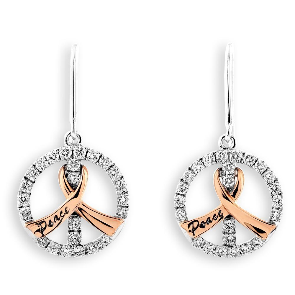 Peace Ribbon Earrings in 18k White Gold with Diamonds (0.42ct) Earrings IAD