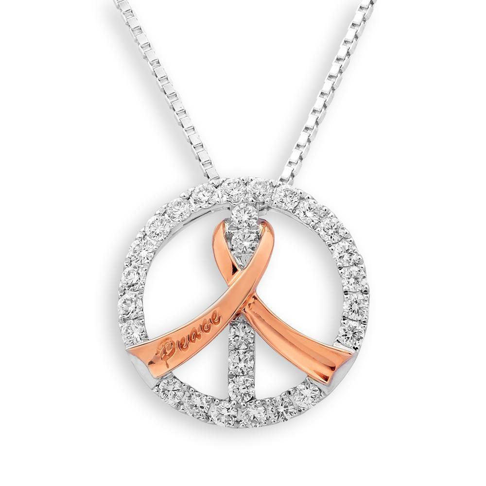 Peace Ribbon Pendant in 18k White & Rose Gold with Diamonds (0.374ct) Pendant IAD