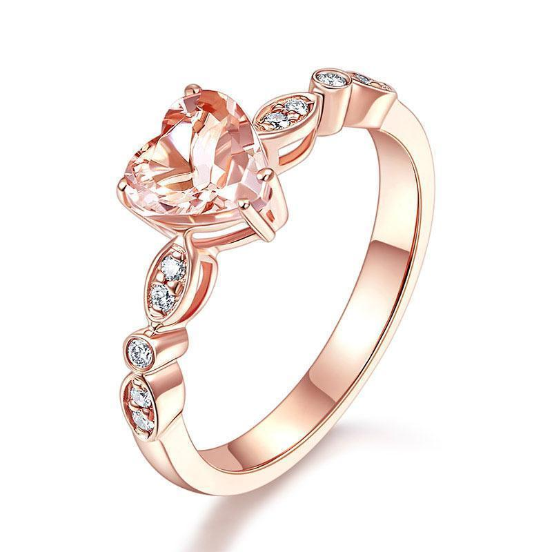Peach Morganite (1.2ct) Heart-Cut Ring in 14k Rose Gold with Diamonds (0.11ct) 14K Gold Engagement Rings Oanthan 14k White Gold US Size 4