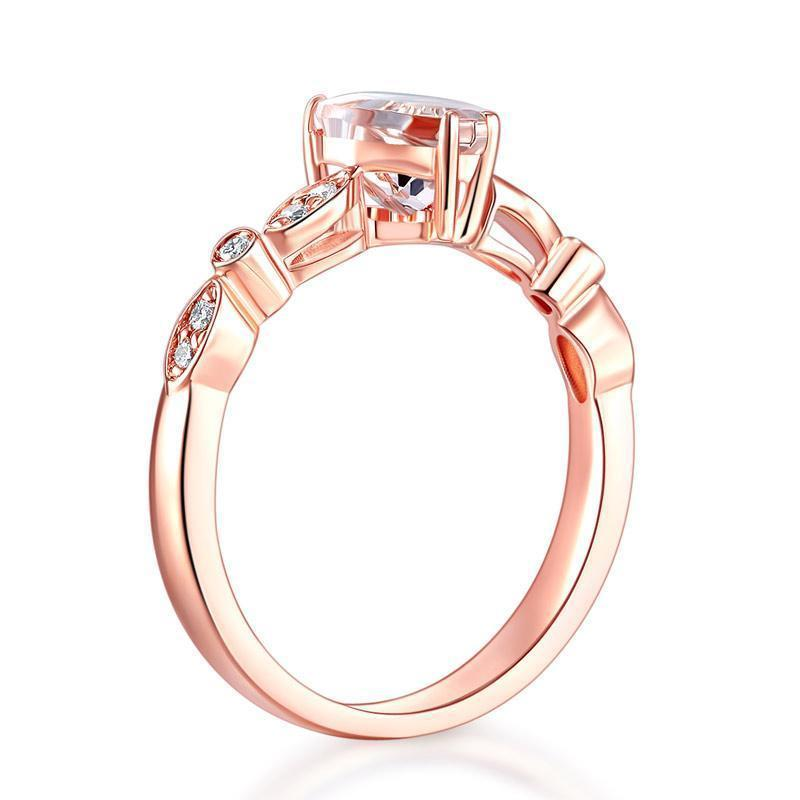 Peach Morganite (1.2ct) Heart-Cut Ring in 14k Rose Gold with Diamonds (0.11ct) 14K Gold Engagement Rings Oanthan