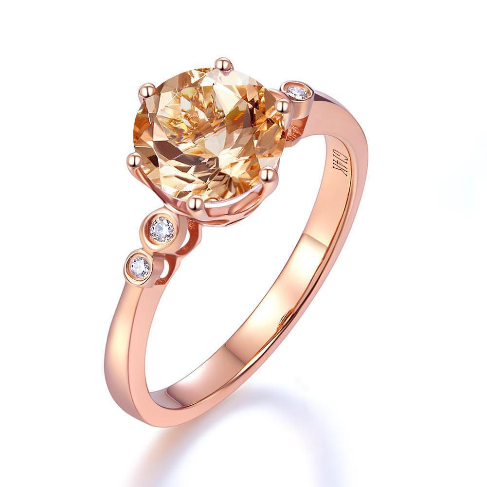 Peach Morganite (1.2ct) Ring in 14k Rose Gold with Diamonds (0.038ct) 14K Gold Engagement Rings Oanthan 14k White Gold US Size 4