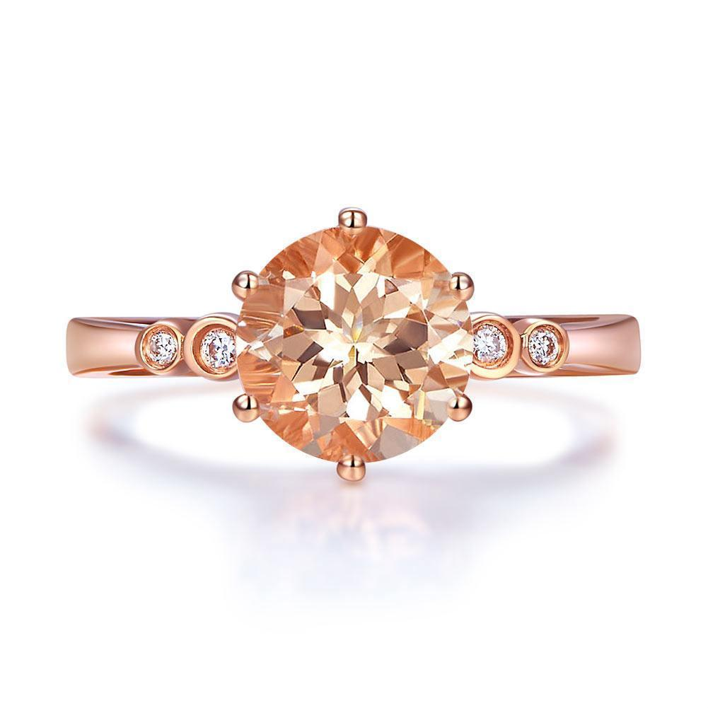 Peach Morganite (1.2ct) Ring in 14k Rose Gold with Diamonds (0.038ct) 14K Gold Engagement Rings Oanthan