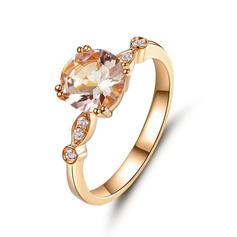 Peach Morganite (1.2ct) Ring in 14k Rose Gold with Diamonds (0.074ct) 14K Gold Engagement Rings Oanthan 14k White Gold US Size 4