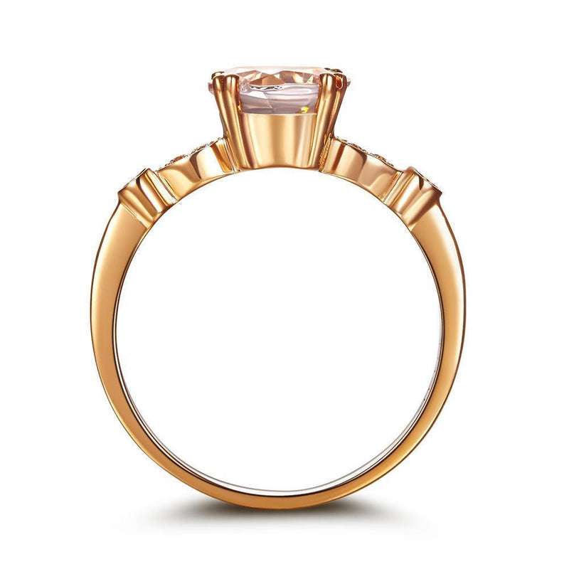 Peach Morganite (1.2ct) Ring in 14k Rose Gold with Diamonds (0.074ct) 14K Gold Engagement Rings Oanthan