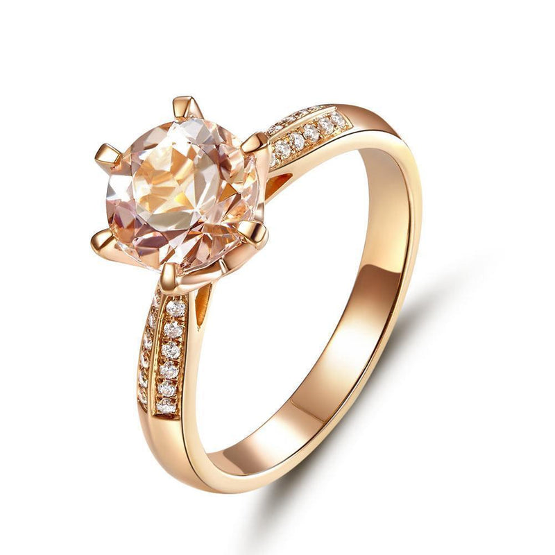 Peach Morganite (1.2ct) Ring in 14k Rose Gold with Diamonds (0.109ct) 14K Gold Engagement Rings Oanthan 14k White Gold US Size 4