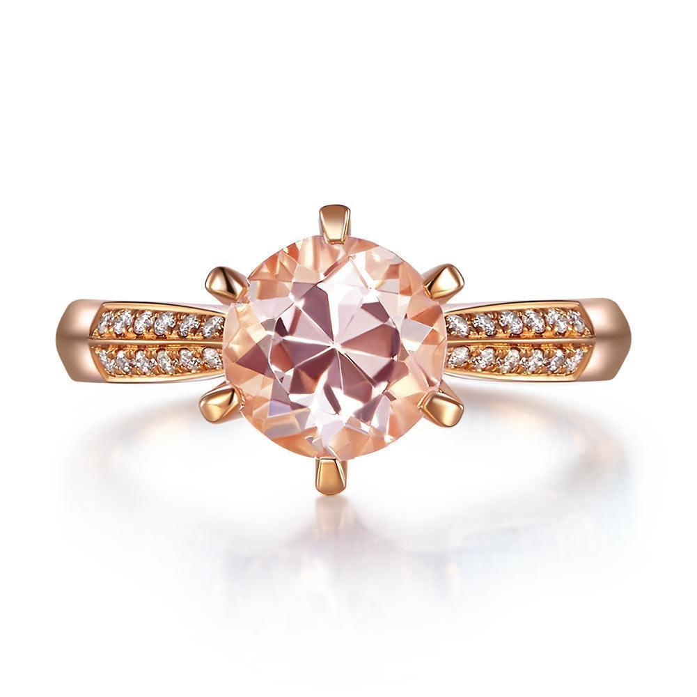 Peach Morganite (1.2ct) Ring in 14k Rose Gold with Diamonds (0.109ct) 14K Gold Engagement Rings Oanthan